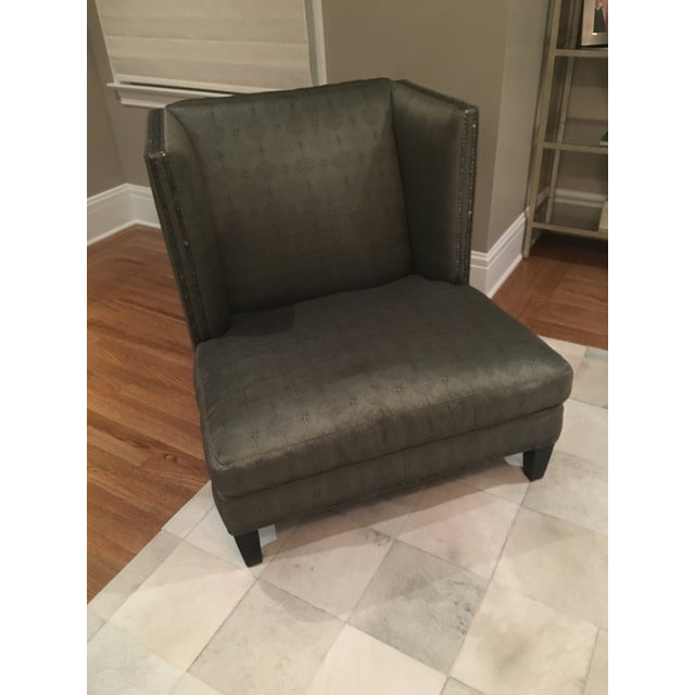 Deep Olive Toned Lee Chair and Ottoman - Image 3 of 8