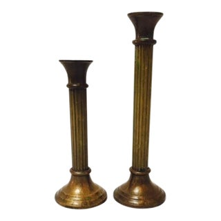 Brass Column Candle Sticks - A Pair
