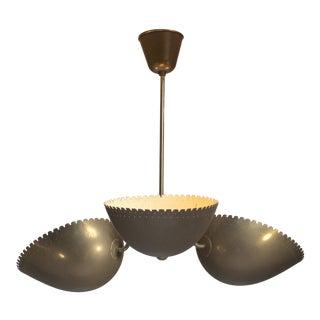 Bertil Brisborg Brass Pendant with Three Shades, Bohlmarks, Sweden, 1940s