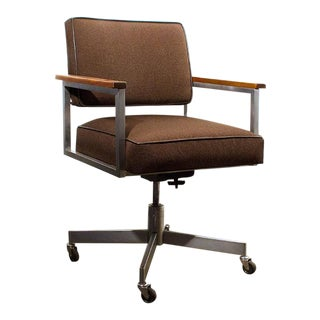 1970s General Fireproofing Armed Steno Chair in Chocolate