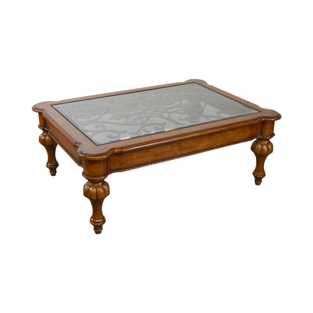 Ethan Allen French Country Style Glass & Scrolled Iron Top Coffee Table - Image 1 of 10