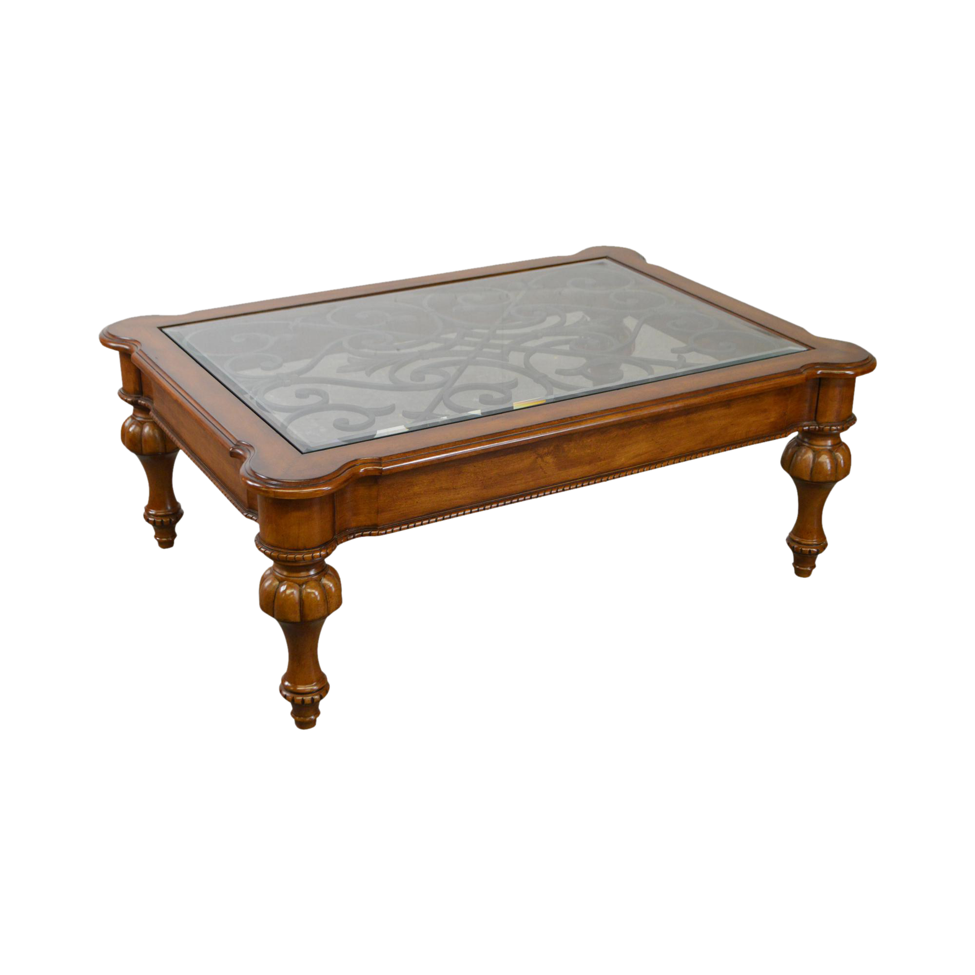 Ethan Allen French Country Style Glass U0026 Scrolled Iron Top Coffee Table