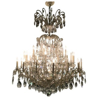Schonbek German Monumental Painted Brass & Crystal Chandelier
