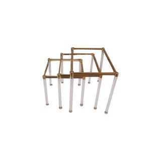 Lucite & Brass Nesting Tables