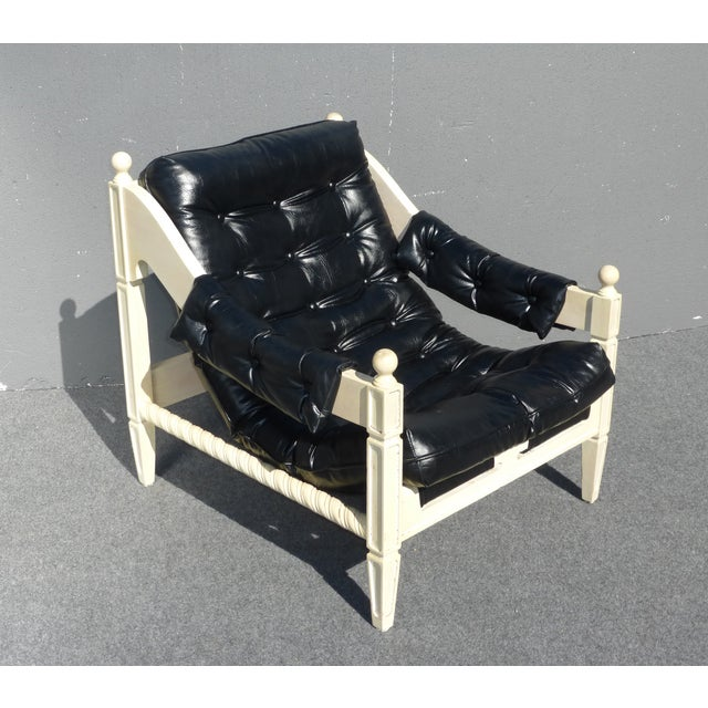 Mid-Century Black & White Chair & Ottoman - Image 4 of 11