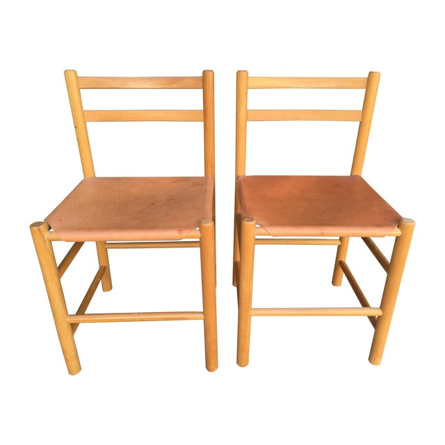 Perriand Style Birch & Leather Chairs - A Pair - Image 1 of 6