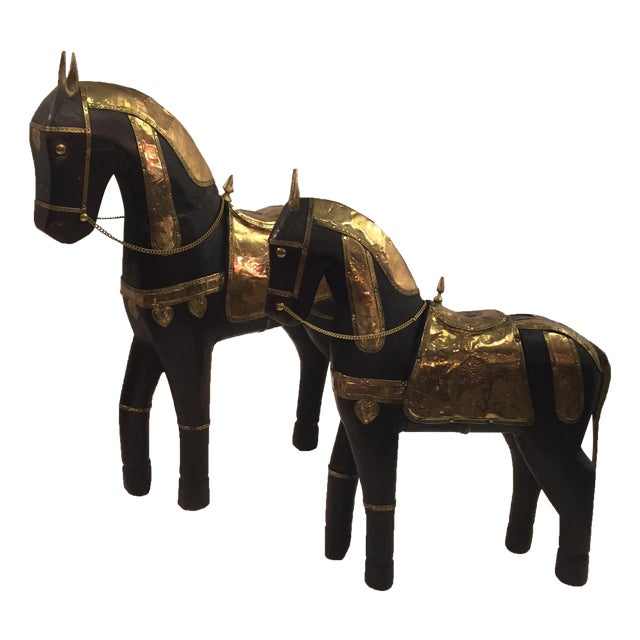 Asian Carved Wood & Brass Trojan Horse Set - Image 1 of 10
