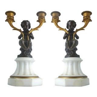 Gilt-Bronze Cherub Candelabras- A Pair