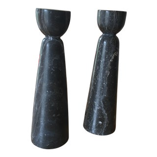 Black & White Marble Candleholders - A Pair