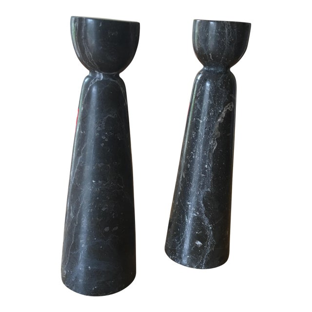 Image of Black & White Marble Candleholders - A Pair