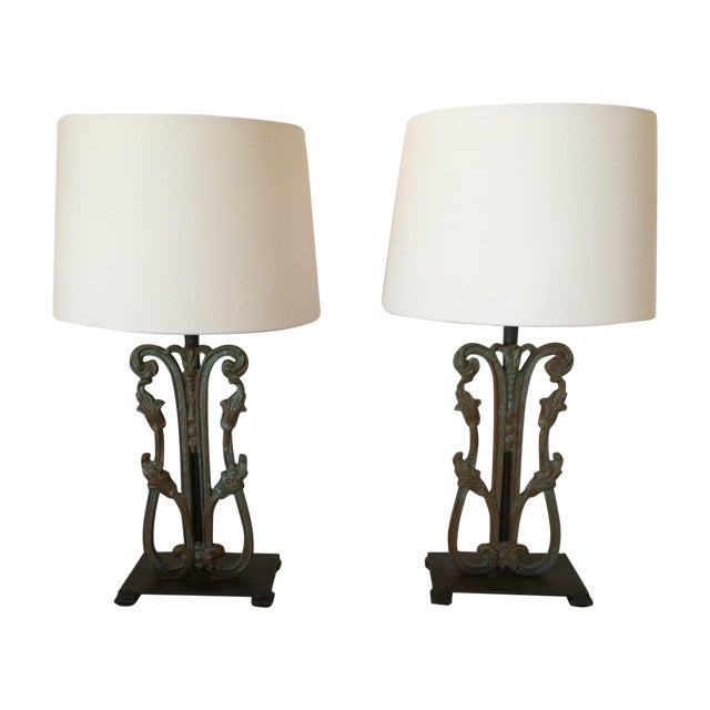 Rustic Vintage Iron Lamps - A Pair - Image 1 of 6