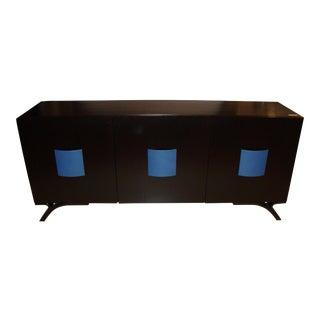 Hollywood Regency Style Dakota Jackson Ebony & Celeste Blu Panel Sideboard