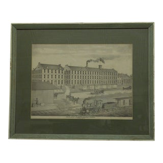"""Vintage Matted and Framed Print """"Excelsior Mower and Reaper Works"""", Akron Ohio, 1880"""