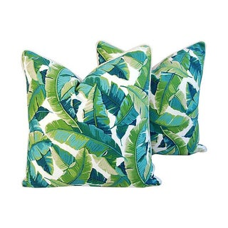 "24"" Square Custom Tailored Tropical Banana Leaf Feather/Down Pillows - Pair"