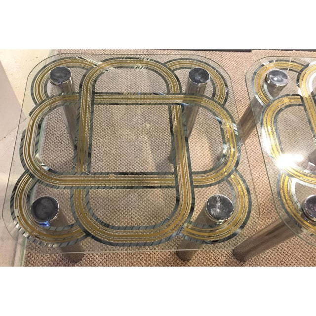 Mid Century Graphic Top Glass &Chrome Side Tables - a Pair - Image 2 of 7
