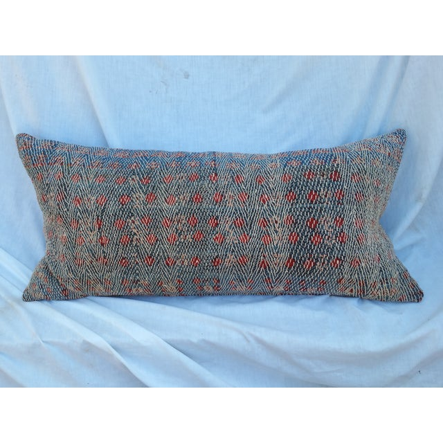 Over-Stitched Indigo Tribal Pillow - Image 2 of 6