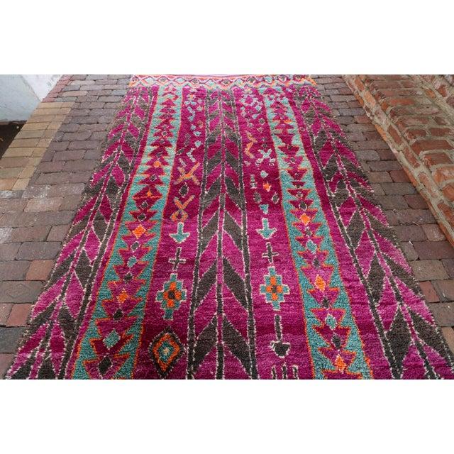 Vintage Moroccan Purple & Teal Talsint Rug - 5′12″ × 11′2″ - Image 6 of 7