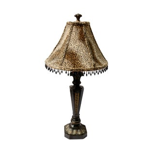 Wood Carved Table Lamp with Leopard Print Shade