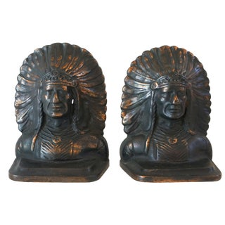 Native American Chief Iron & Copper Bookends -Pair