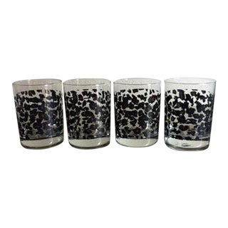Nicole Miller Leopard Low Ball Glasses - Set of 4