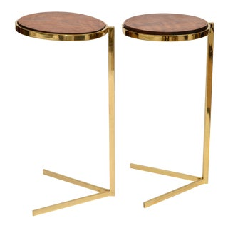 Personal Brass with Wooden Top Side Table
