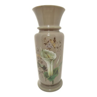 Antique European Hand Painted Art Glass Vase Taupe W Calla Lily