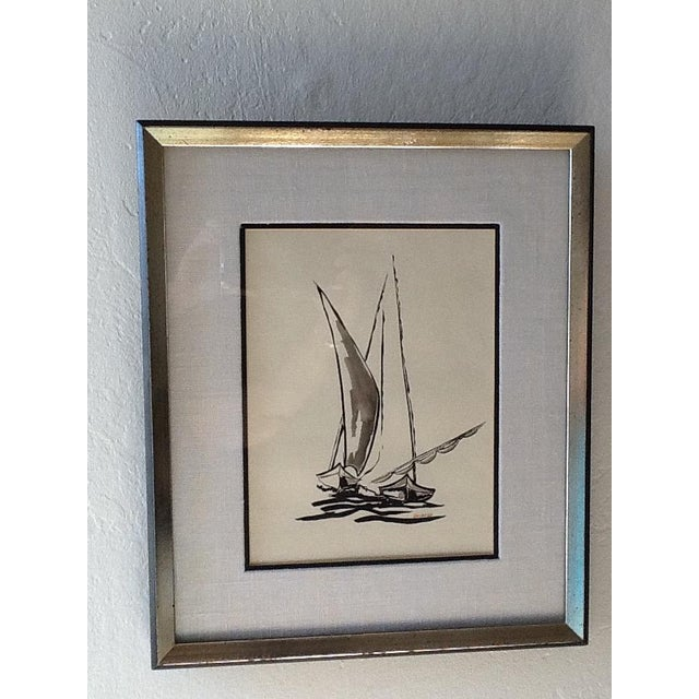Black Ink Original Signed Sailboat Painting - Image 2 of 10