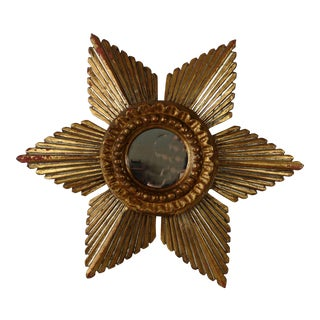 Sunburst Star Gilded & Silver Wood Mirror
