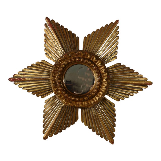 Image of Sunburst Star Gilded & Silver Wood Mirror