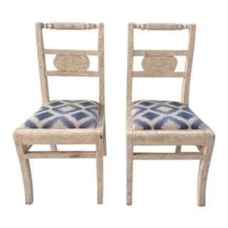 Vintage Tessellated Bone Small Side Chairs - a Pair