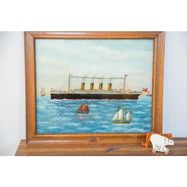 Vintage Milton Bond Titanic Reverse Glass Painting Chairish