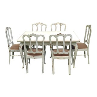 Antique French Dining Table & 6 Chairs- 7 Pieces