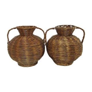 Oversized Mid Century Handwoven Baskets - Pair