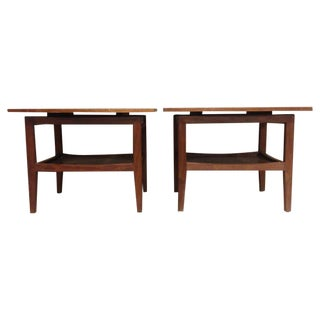 Jens Risom Curvilinear Walnut End Tables - A Pair