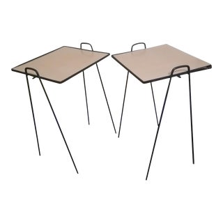 Mid Century Wrought Iron Nesting Tables - a Pair
