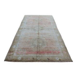 Mid 20th C. Vintage Antique Tribal Oushak Neutral Soft Hand Knotted Turkish Rug - 5'7 X 10'1