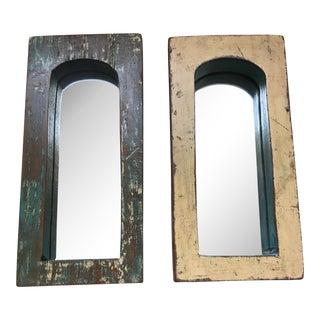 Vintage Indian Archway Painted Teak Mirrors - A Pair