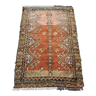 "Vintage Turkish Oushak Tribal Hand Knotted Rug- 1'10"" x 3'"