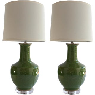 Green Ceramic Table Lamps - A Pair