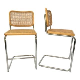 Cesco Marcel Breuer Style Chrome & Cane Barstools - A Pair