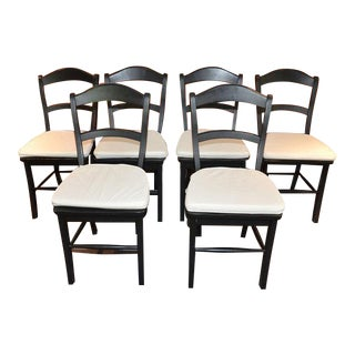 Black Wood Kitchen Dining Chairs - Set of 6