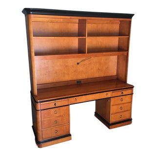 Mid-Century Wooden Desk & Hutch