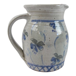 French Glazed Ceramic & Hand Painted Pitcher