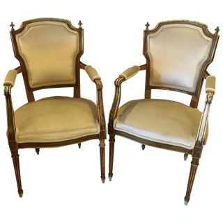 Maison Jansen Distressed Louis XVI Style Armchairs - A Pair