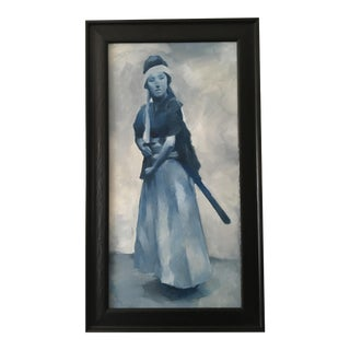 """""""Blue Lady"""" Japanese Oil Painting"""