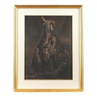 Rembrandt Van Rijn -The Descent from the Cross- Second Plate 1633 Engraving