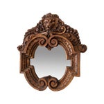 Image of Vintage Carved Wooden Mirror with Lion