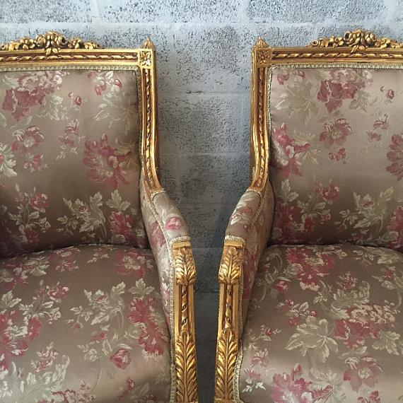 French Louis XVI Chairs Gold Leaf Floral - Pair - Image 3 of 6