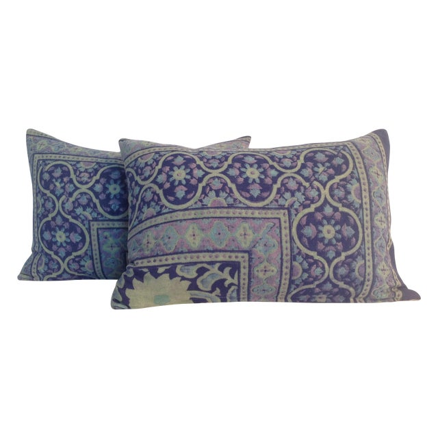Vintage 1970s Block Print Pillows - A Pair - Image 1 of 4