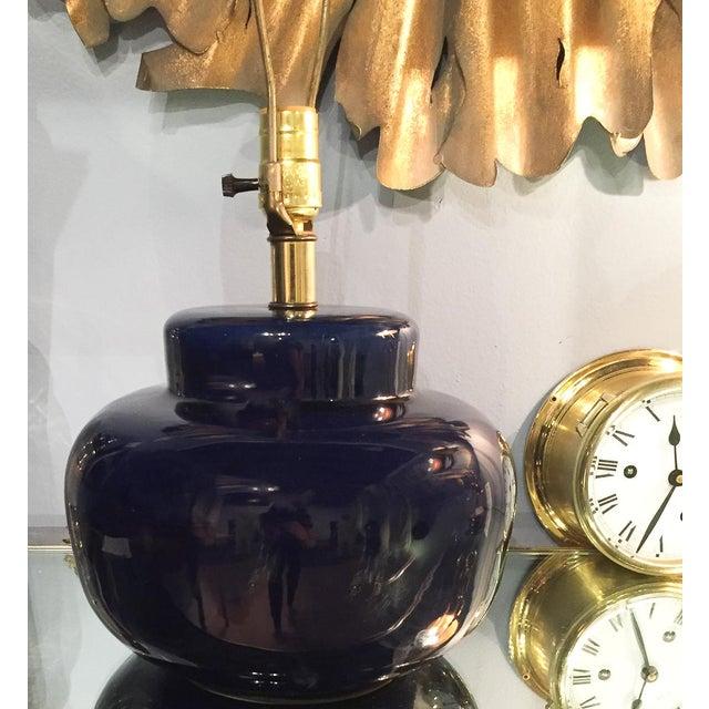 Mid Century Cobalt Blue Ceramic Lamp - Image 3 of 8
